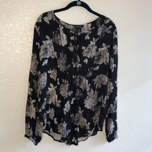 Lucky Brand Blouse Top Floral Black White Medium